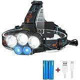 Stirnlampe , SGODDE led Kopflampe(inklusive 2 Akku), 3 x XML T6 + 2xR2 LED 18650 Kopfleuchten ideal für Nachtlese, Camping, Angeln,Abenteuer,Höhlenforschung , Bergsteigen , Klettern, Fahrrad usw