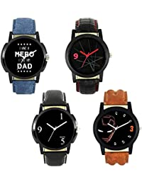 Xforia Boys Watch Black, Blue & Brown Leather New Arrival Analog Watches For Men Pack Of 4