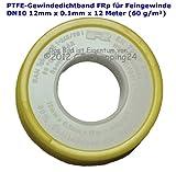 Nastro per guarnizioni in PTFE, rotolo (TEFLON), per filettatura fine DN10 secondo DIN EN 751-3, 12 mm x 0,1 mm x 12 m (60 g/m²), bianco, 4011210