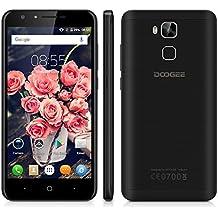 "Doogee Y6C - Smartphone Libre 4G LTE (Android 6.0, Pantalla 5.5"", 8.0 Mp, 16GB ROM, 2GB RAM, Quad-Core 1.3GHz, Dual SIM, Lector de huellas, Bluetooth, GPS, WIFI), Negro"