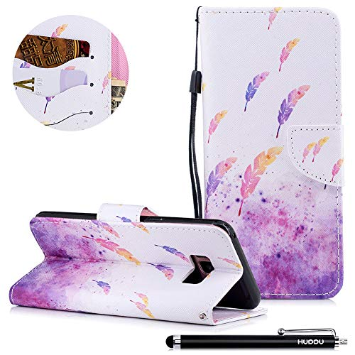 HUDDU Compatible for Feather Handyhülle Samsung Galaxy S8 Plus Hülle Flip Wallet Case Ledertasche Kartenfach Magnet Stand Lederhülle Etui Handy Cover Schutzhülle Tasche Leder Klapphülle Bunt Muster