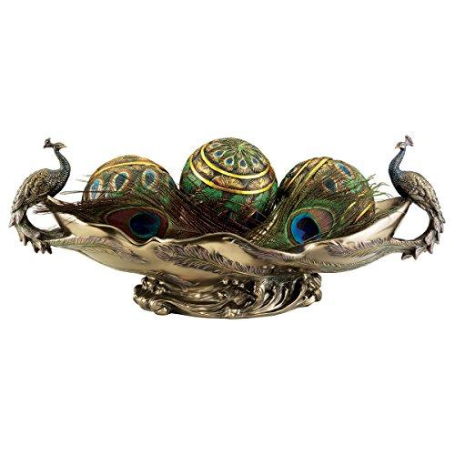 Design Toscano Pfau Dekoratives Mittelstück Skulpturschüssel, Polyresin, Bronze-Finish, 43,25 cm - Polyresin Bronze-finish