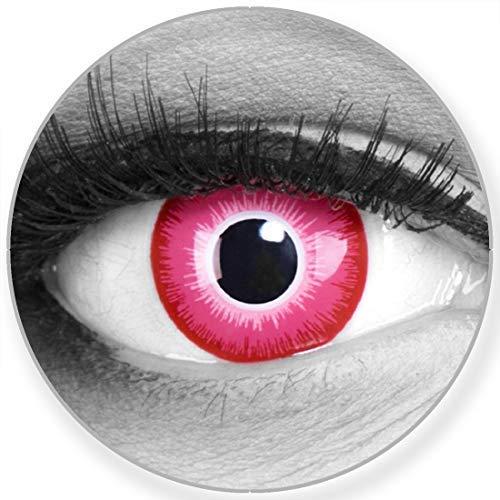 Farbige Kontaktlinsen Emine in pink weiss - Manga Anime Linsen weich ohne Stärke 2er Pack + gratis Behälter - 12 Monatslinsen - perfekt zu Halloween Karneval Fasching oder Fasnacht