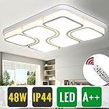 HG® Deckenleuchte LED 48W Quadrat Deckenleuchte Dimmbar Fernbedienung Flurleuchte Beleuchtung