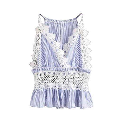 Gestreifte Spitzenweste VENMO Frauen Streifen Lace Casual Top Ärmelloses Erntegut Weste Tank Shirt Bluse Cami Top (Blue, S) (Skinny Girls Look Good In Clothes)
