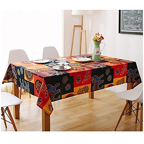 Gjrff Ethno-Stil Tischdecken Tischdecken rechteckige dunkle Tischdecke Kaffee Tischdecke Handtuch HD Druck und Färben (Size : 120 * 180cm)