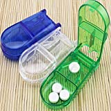 onlineminimall Sharp Blade Cutter Portable Perfect Travel Partner Pill Compartment Box with Splitter