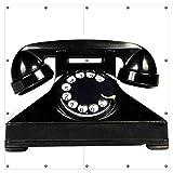 Wallario XXL Garten-Poster Outdoor-Poster - Altes schwarzes Retro-Telefon mit Wählscheibe frontal in Premiumqualität, für den Außeneinsatz geeignet