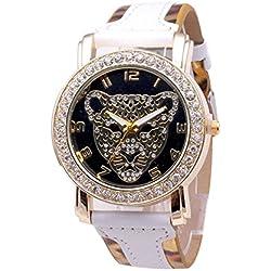 SSITG Women's Leopard Print Leather Gold Crystal Diamond Quartz Bracelet Watch