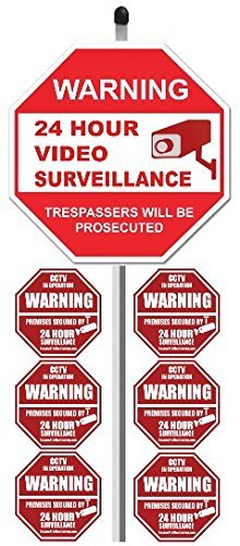 2,5cm 24Stunde Video Surveillance Yard-Zeichen (22,9x 22,9cm), mit 91,4cm Langen Spieß mit 6Security Alarm System Aufkleber (Weiß & Rot) Adt Alarm