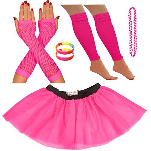 Redstar Fancy Dress® - Tutu-Röckchen, Beinstulpen, Netzhandschuhe, Perlenkette und breite Gummiarmbänder - Neonfarben - Pink - ()