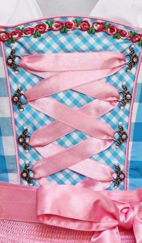Alpenmärchen, 3tlg. Dirndl-Set - Trachtenkleid, Bluse, Schürze, Gr.32-60, blau-rosa, ALM3062 Türkis-Rosa