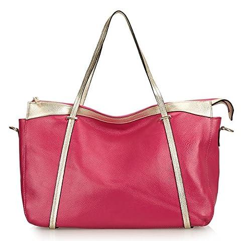 SAIERLONG Damen Lässig Rose Red Kuhfell Messenger Bag Handtasche Schultertasche