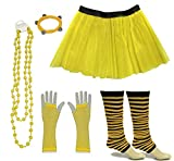 A-Express Frauen kostüm 80er Jahre Neon Tutu Streifen Beinstulpen Fischnetz Handschuhe Tüllrock Karneval Tüll Damen Fluo Ballett Verkleidung Party Tutu Rock Kostüm Set (46-54, Gelb)