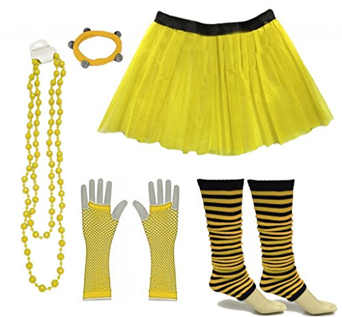 Neon Gelb Fischnetz (A-Express Frauen kostüm 80er Jahre Neon Tutu Streifen Beinstulpen Fischnetz Handschuhe Tüllrock Karneval Tüll Damen Fluo Ballett Verkleidung Party Tutu Rock Kostüm Set (46-54, Gelb))