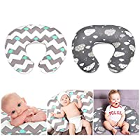 MOGOI Nursing Pillow Cover, Stretchy Breastfeeding Pillow Slipcovers 2 Pack, Ultra Soft Snug Fits On Infant Nursing Pillow, Clouds/Whales