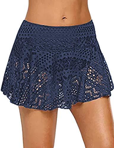 MUCOO Damen Sexy Bikini Bottom Häkelbare Bauchkontrolle Spitze Baderock kurz Rock mit Slip Gr. S, blau -