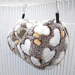 Volwco Lit à Suspendre en Polaire Chaude pour Petit Animal Domestique Hamac Cage à Suspendre Lit pour Rat Hamster Hamster Hamster Hamster Hamster