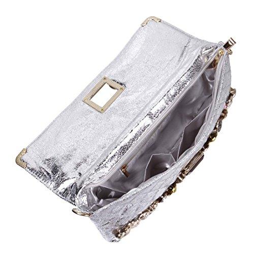 B.M.C. - Sac à main cuir PU effet matelassé - style Lamé - faux diamant/boutons en métal Argenté