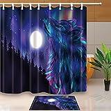 gohebe Aurora Borealis Decor Moon Landschaft mit Heulender Wolf 180,3x 180,3cm Schimmelresistent Polyester Stoff Vorhang für die Dusche Anzug mit 39,9x 59,9cm Flanell rutschfeste Boden Fußmatte Bad Teppiche