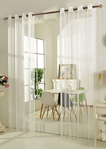 Fadengardine Fadenstore Vorhang mit Ösen Raumteiler 140 x 250 cm, Weiß