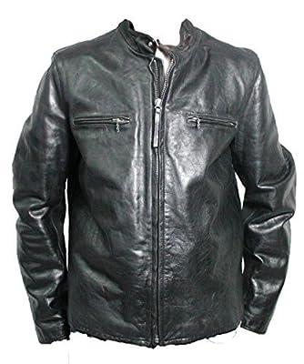 POLO JEANS BY RALPH LAUREN men's jacket black mod PARKER 100% LEATHER XXL