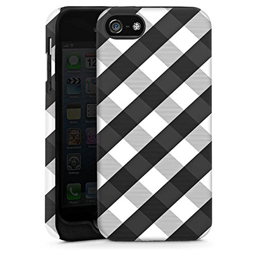 Apple iPhone 5s Housse Étui Protection Coque Carreau Style Noir et blanc Cas Tough brillant