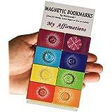 """MAGnerds Marcadores Magnéticos/Marcapáginas Chakra """"Mi Afirmaciones"""" (Versión Inglesa) - 2,7 x 4 centimetros tamaño plegado - 8 unidades"""