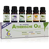 Natura Pur Ätherische Öle Set - 100% Bio naturrein - Duftöle Aromaöle für Diffuser und Aromatherapie, 6 x 10ml (Rosmarin, Lavendel, Eukalyptus, Zitronengras, Orange, Teebaum)