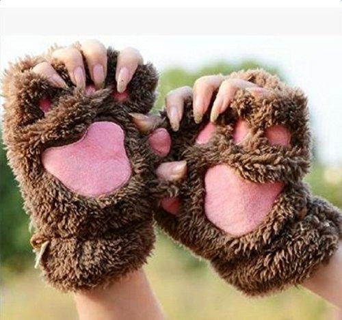 Zedo Damen Winter Handschuhe Fingerlose Fäustlinge Fingerhandschuhe Radsporthandschuhe als Halbfinger Tasten Handschuhe Daumenloch Fäustlinge