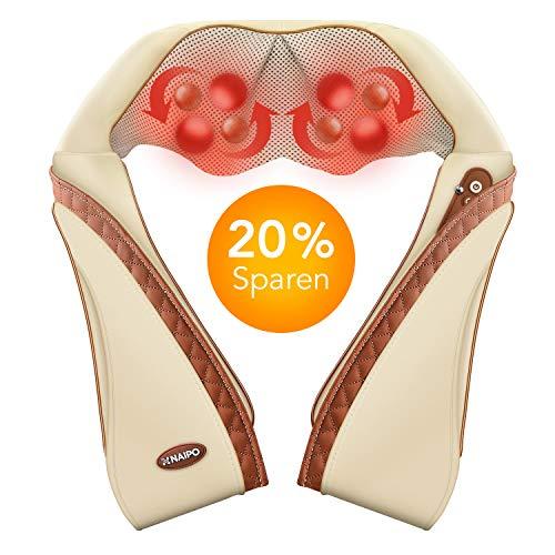 Naipo Schulter Massagegerät Nacken Rücken Shiatsu Nackenmassagegerät Elektrisch Massage Geräte mit Wärmefunktion 3D-Rotation Einstellbaren Geschwindigkeiten - Hause Büro und Auto