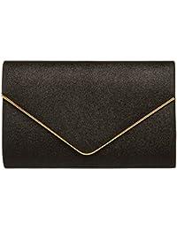 CASPAR TA365 Sac à main enveloppe clutch élégant pour femme - Pochette de soirée à paillettes avec longue chaînette