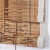 LHY Tende a lamelle in Materiale Naturale cieco arrotolabili in bambù, tonalità Romane partizionate, Polvere/Isolamento/Impermeabili, Dimensioni Personalizzabili per Interni/Esterni