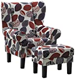 Atlantic Home Collection JEFF Ohrensessel inklusive Hocker, Florales Design, 85 x 90 x 106 cm und 53 x 43 x 42 cm, rot/grau/creme gemustert