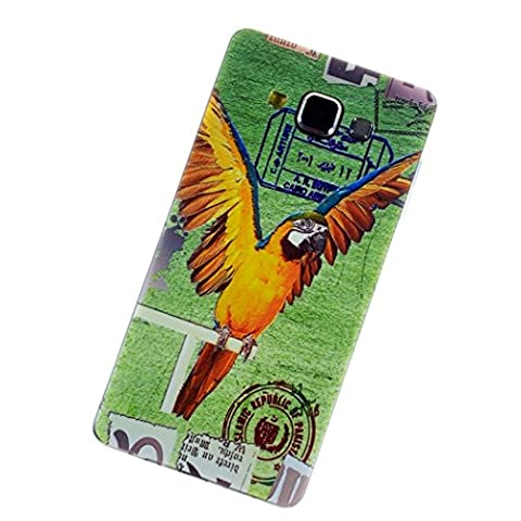 TPU Silicone Coque pour Samsung Galaxy A5 A5000 (2015) - Aohro Housse Etui Protection Ultra Fine Slim Skin Shell Back Case Cover + Stylus Pen + Dust Plug--Yellow parrot