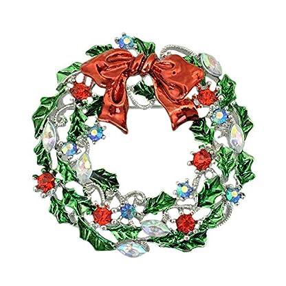 Zuiaidess Broches Y Alfileres para Mujer,Corona de Plata Navidad Broches Vintage Gota de Aceite Verde Brooch Pin Joyas Mujeres