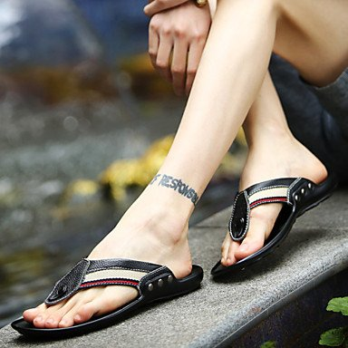 Sommer Sandalen Herrenschuhe legere Leder Flip-Flops Schwarz/Blau Blau