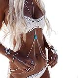 Catena del corpo, collana della catena del corpo della pancia della vita del cablaggio di Crossover della fascia di nuovo bikini delle signore (Silver)