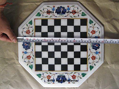 Gifts And Artefacts 30,5cm Octagon weiß Marmor Chess Cum Couchtisch Top Lapis Lazuli Stein Inlay Art