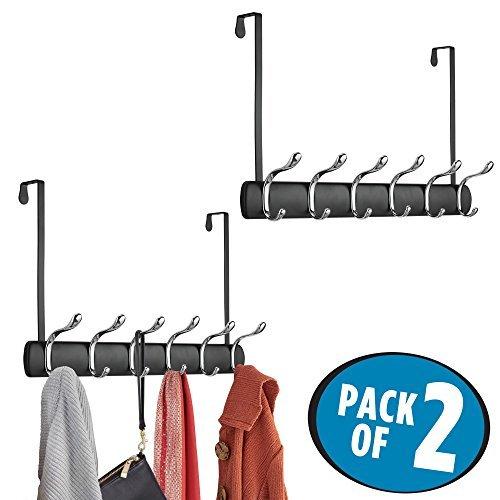 mDesign 2er-Set Türgarderobe zum Einhängen – 12 Garderobenhaken zum über die Tür hängen – Flurgarderobe aus Metall für Mäntel, Jacken, Bademäntel, Handtücher etc. – mattschwarz und silberfarben