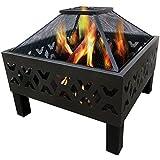 Charles Bentley - Brasero pour l'extérieur - bois ou charbon/avec housse imperméable - acier - motif aztèque noir