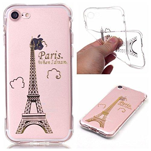 Voguecase® für Apple iPhone 7 4.7 hülle, Schutzhülle / Case / Cover / Hülle / TPU Gel Skin (Lace Blume) + Gratis Universal Eingabestift Gold Eiffelturm