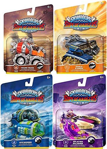 Overdrive Team Character Cars Super Chargers Dive Bomber / Thump Truck /  Splatter Splasher / Shield Striker Game Vehicles Sky Landers Land & Sea