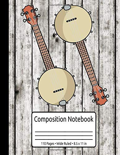 Vintage Banjo Gifts Women Men Country Music Bluegrass Banjo Composition Notebook 110 Pages Wide Ruled 8.5 x 11 in: Bluegrass Banjo Journal