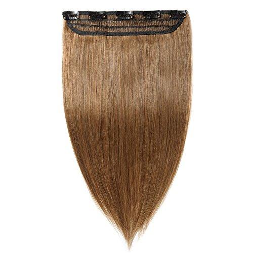 Clip in extensions echthaar Haarverlängerung 100% Remy Echthaar - 1 Stück (40cm-45g #6 hellbraun)
