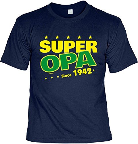 T-Shirt Super Opa since 1942 T-Shirt zum 75. Geburtstag Geschenk zum 75 Geburtstag 75 Jahre Geburtstagsgeschenk 75-jähriger Navyblau