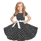 Tyoby Baby Mädchen Kleid Kinder Kurzarm Polka Dot Lace-Up Vintage Prinzessin Rock Party Festkleid(Schwarz,L)