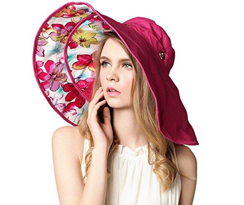 Elonglin Femme Fille Capeline Amovible Bord Large Anti-UV Double-Face Imprimé Chapeau de Plage Respirant pour Voyager Randonnée en Coton Rose