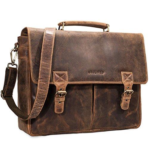STILORD 'Georg' Maletín o Bolso de Negocios Oficina o Profesor de Cuero Vintage Bolsa de Mensajero o Bandolera para portátil de 15.6' de auténtica Piel, Color:marrón - Medio