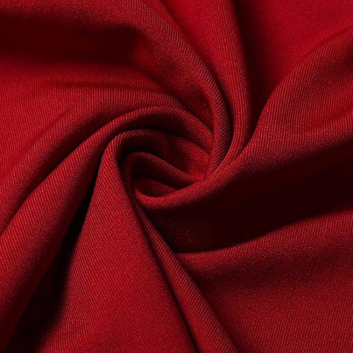 QIYUN.Z Femme Robuste Couleur Volante Épaule Froid Manches Longues Bodycon Mini Robe Rouge